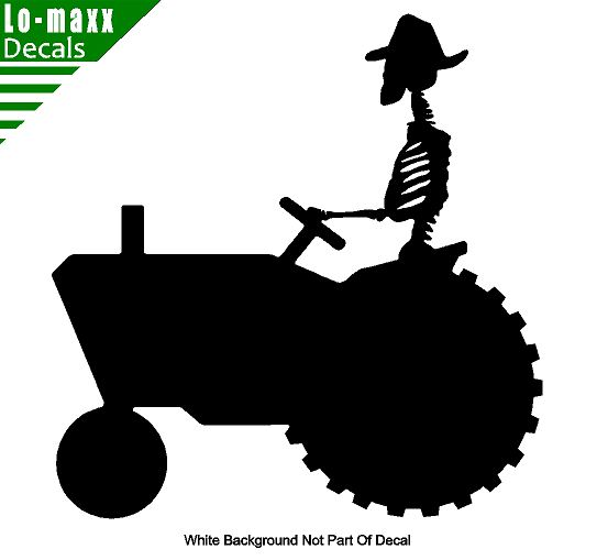 Skeleton Tractor Farmer Die Cut Vinyl Decal 1