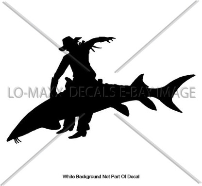 cowboy riding sturgeon die cut vinyl decal 1